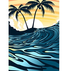 Surf beach at sunrise with palm trees vector image vector image