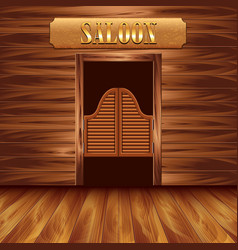 Swinging doors of saloon western background vector image