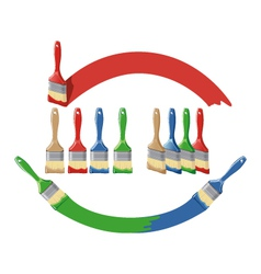 Paint brush and dab paint multi color set vector