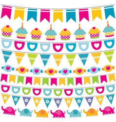 Birthday bunting flags set vector