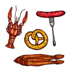 Beer snack food sketch of sausage pretzel fish vector