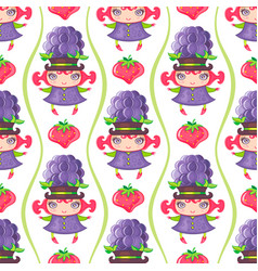 Seamless colorful pattern with blackberry fruit vector