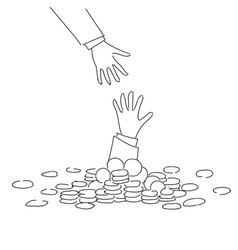 Business hand helping businessman from coin heap vector