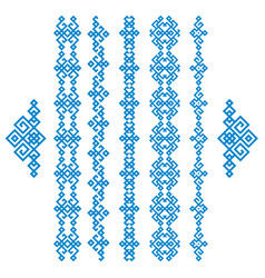 Set of blue ethnic geometrical borders isolated on vector