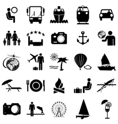 Collection flat icons travel symbols vector