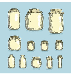 Set glass jars vector