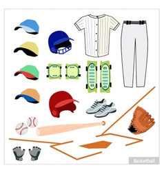 Set of baseball equipment on white background vector