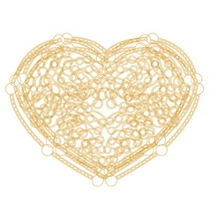 Outline golden heart shape with copy space vector