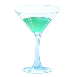 Blue tipple cocktail in glass goblet on stem vector