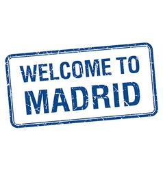 Welcome to madrid blue grunge square stamp vector