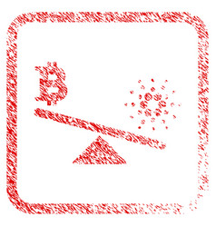 Bitcoin cardano balance swings framed stamp vector