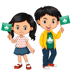 Boy and girl holding flag of macau vector