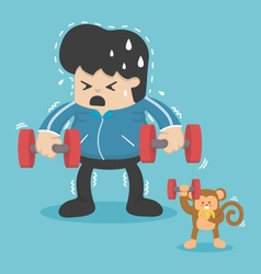 Cartoon exercise reducing weight by lifting a dum vector