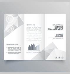Clean white trifold brochure design with abstract vector