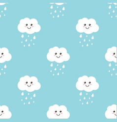 clouds with water drops rain seamless pattern vector image