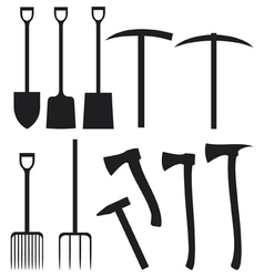 collection of garden instruments silhouettes vector image vector image