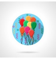 Colorful balloons round flat icon vector image