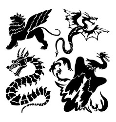 dragon icons vector image