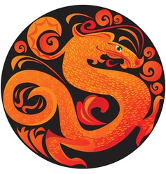 dragon in circle vector image vector image