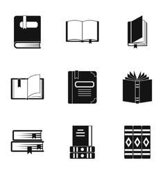 Education book icons set simple style vector