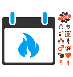Flame calendar day icon with valentine bonus vector