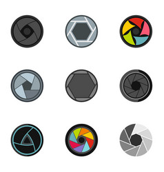 Focus photo icons set flat style vector
