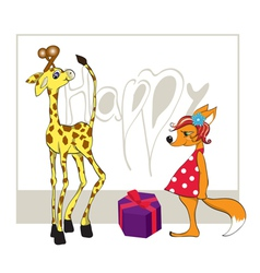 Giraffe with a gift and a fox vector