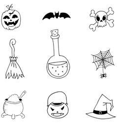 Halloween doodle set collection vector
