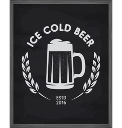Ice cold beer poster pub emblem on chalkboard vector
