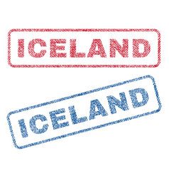Iceland textile stamps vector