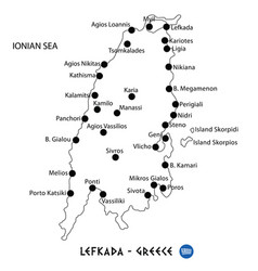 Island of lefkada in greece map on white vector