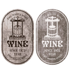 Labels for wine with a wine press and barrel vector