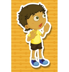 Little boy in yellow shirt shouting vector