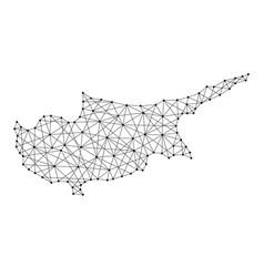 Map of cyprus from polygonal black lines vector