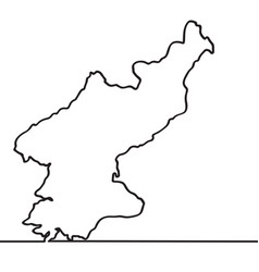 map of north korea continous line vector image