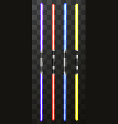 Modern light swords on transparent vector