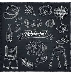 October fest doodle set vintage vector