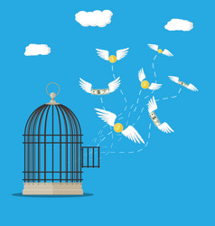 open cage with flying dollar bills and coins vector image