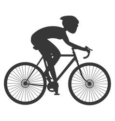 person silhouette riding a bike vector image