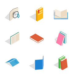 Reading icons isometric 3d style vector