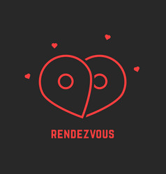red rendezvous icon with pin vector image