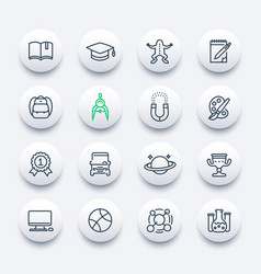 school and college icons set linear style vector image vector image