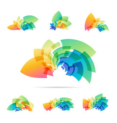 Set logotype colorful abstraction sign vector