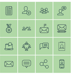Set of 16 social network icons includes talking vector