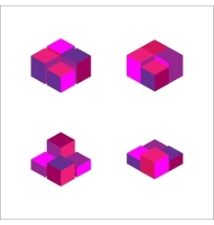 Set of geometric cube fashion graphic design vector