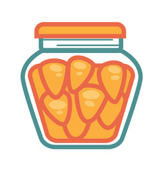 Small canned carrots in jar isolated cartoon vector