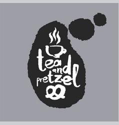 Tea and pretzel in a speech bubble vector