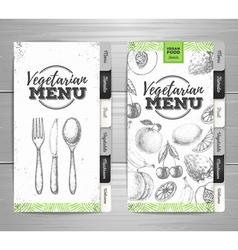 Vintage grunge vegetarian food menu design vector
