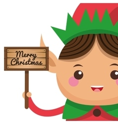 Happy cute christmas elf holding sign icon vector
