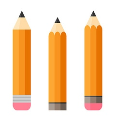 Set of three pencils pencil with eraser isolated vector